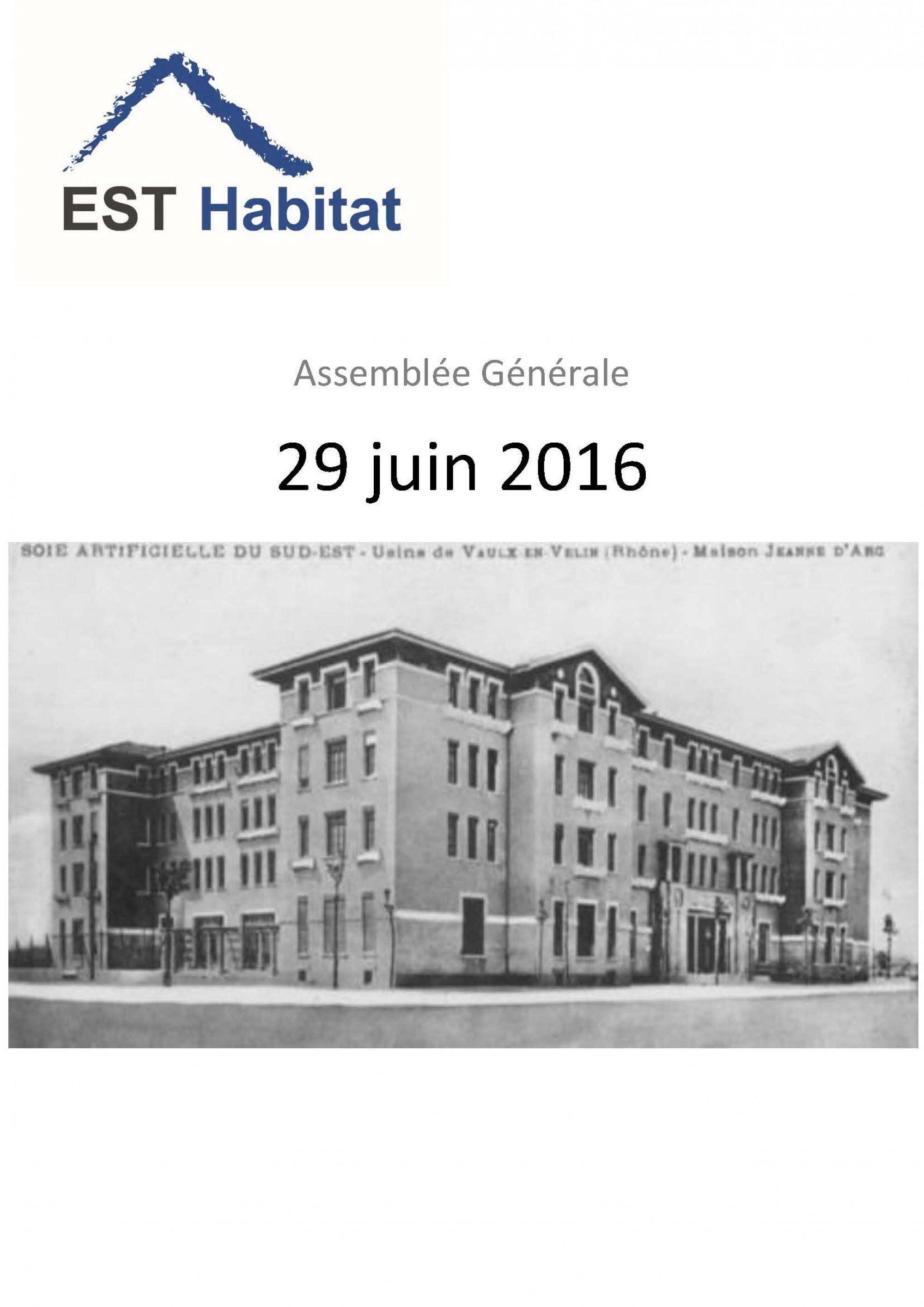 Rapport d'activité 2015 - GIE Est Habitat